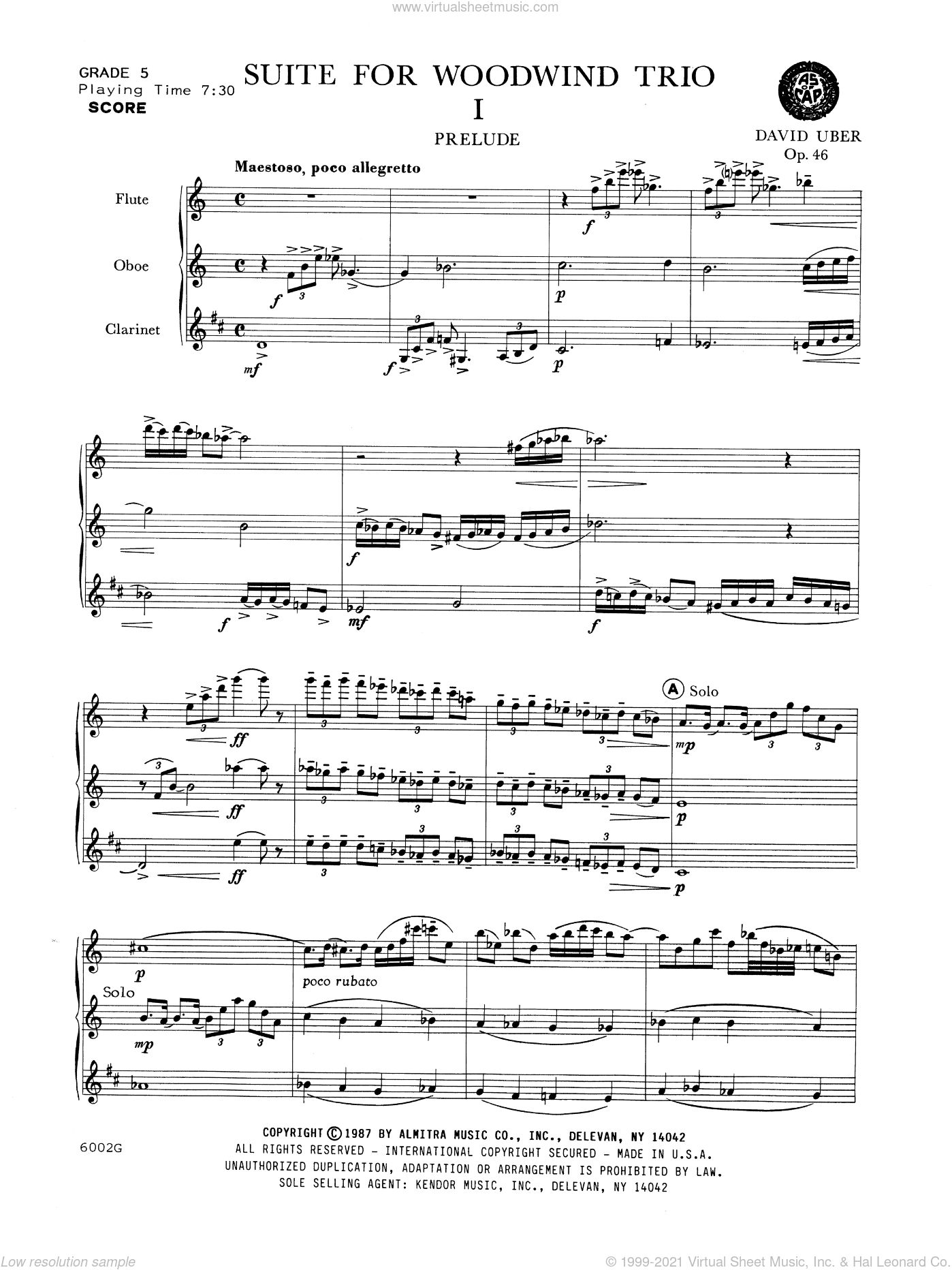Suite For Woodwind Trio (Opus 46) sheet music for wind trio (full score) by Uber