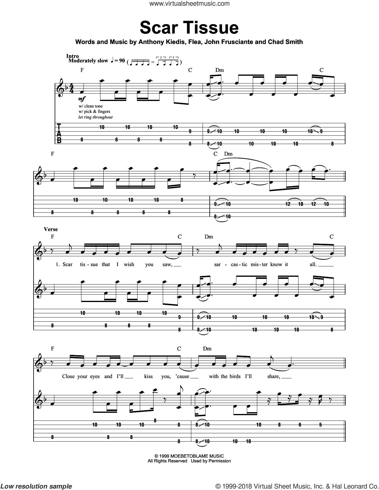 Scar Tissue sheet music for guitar (tablature, play-along) by John Frusciante, Red Hot Chili Peppers and Flea. Score Image Preview.