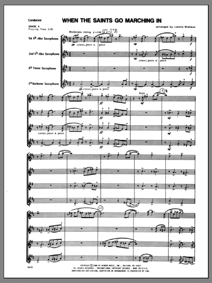 When the Saints Go Marching In (COMPLETE) sheet music for saxophone quartet by Lennie Niehaus and Miscellaneous, classical score, intermediate skill level