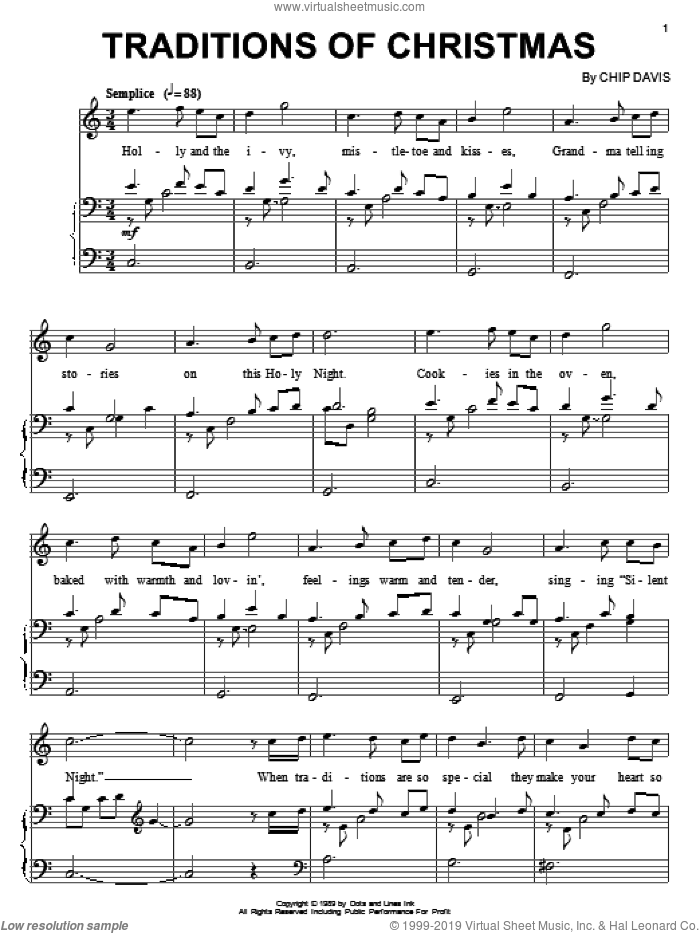 Traditions Of Christmas sheet music for piano solo by Mannheim Steamroller and Chip Davis. Score Image Preview.