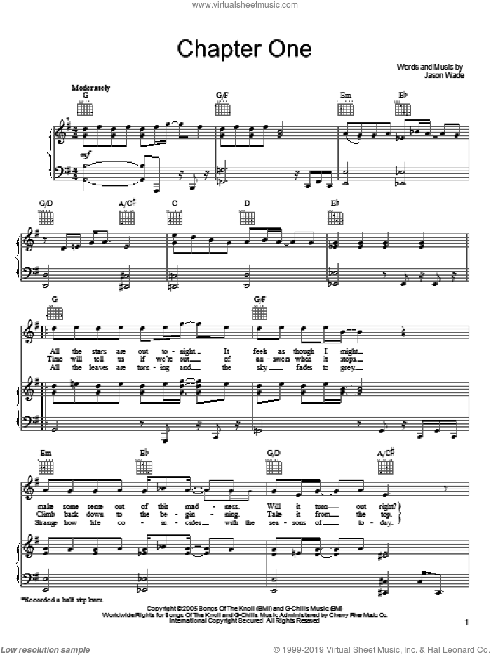 Chapter One sheet music for voice, piano or guitar by Jason Wade and Lifehouse. Score Image Preview.