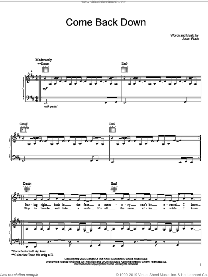 Come Back Down sheet music for voice, piano or guitar by Jason Wade and Lifehouse