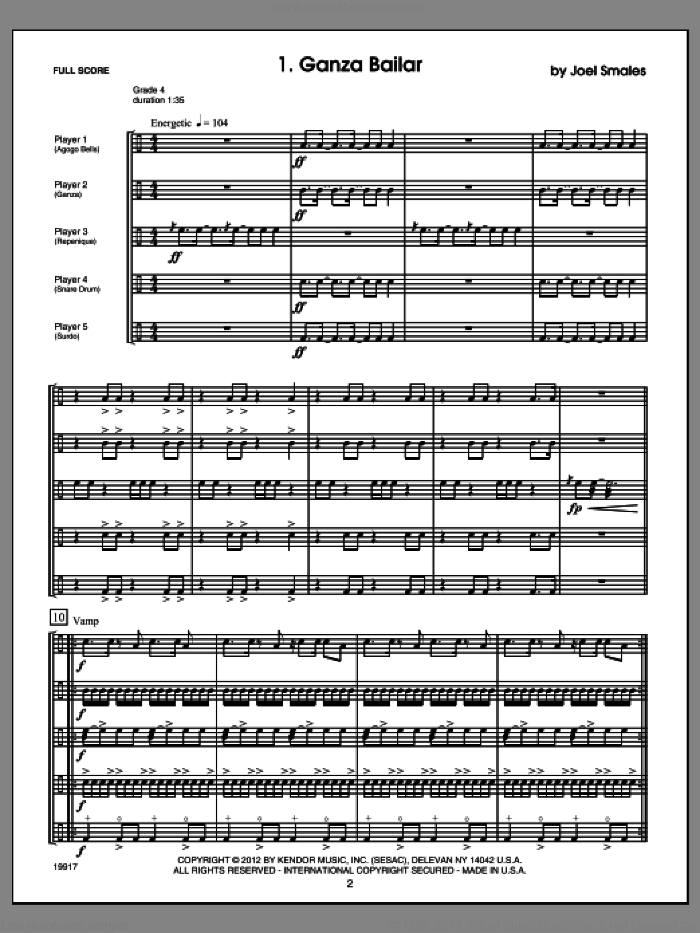 Brazilian Beat (COMPLETE) sheet music for percussions by Smales, classical score, intermediate skill level