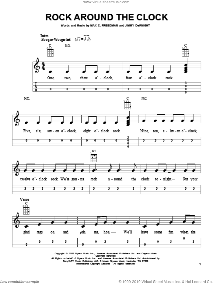 Rock Around The Clock sheet music for ukulele by Bill Haley & His Comets, intermediate skill level