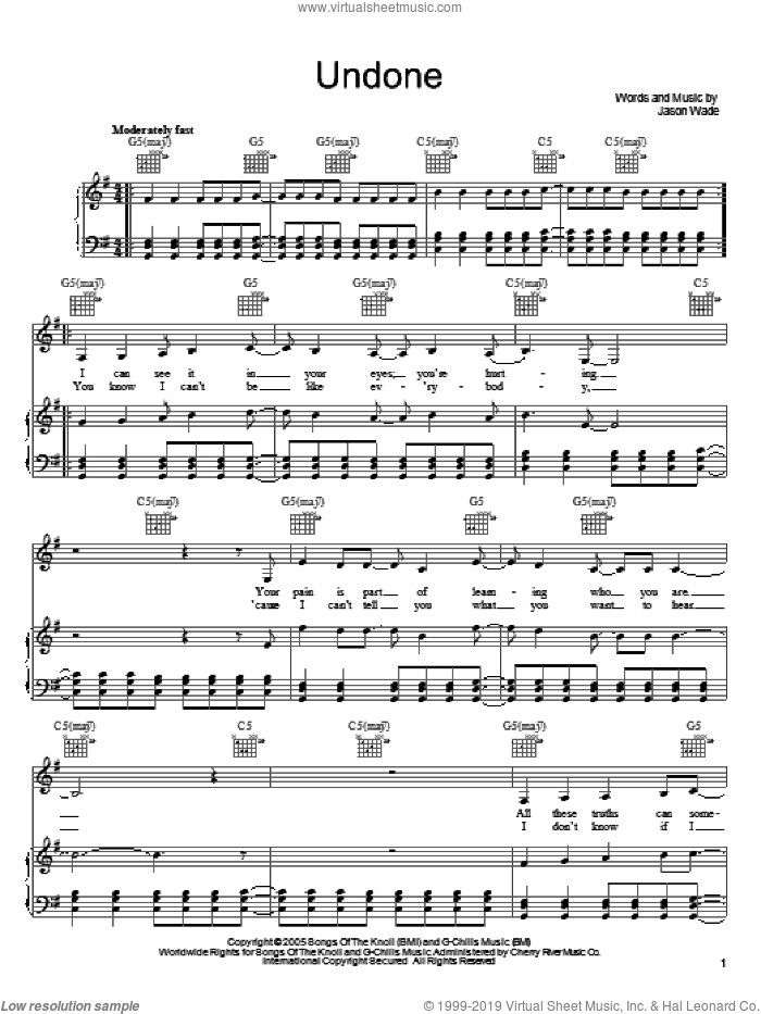 Undone sheet music for voice, piano or guitar by Jason Wade
