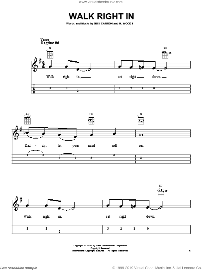 Walk Right In sheet music for ukulele by The Rooftop Singers, intermediate. Score Image Preview.