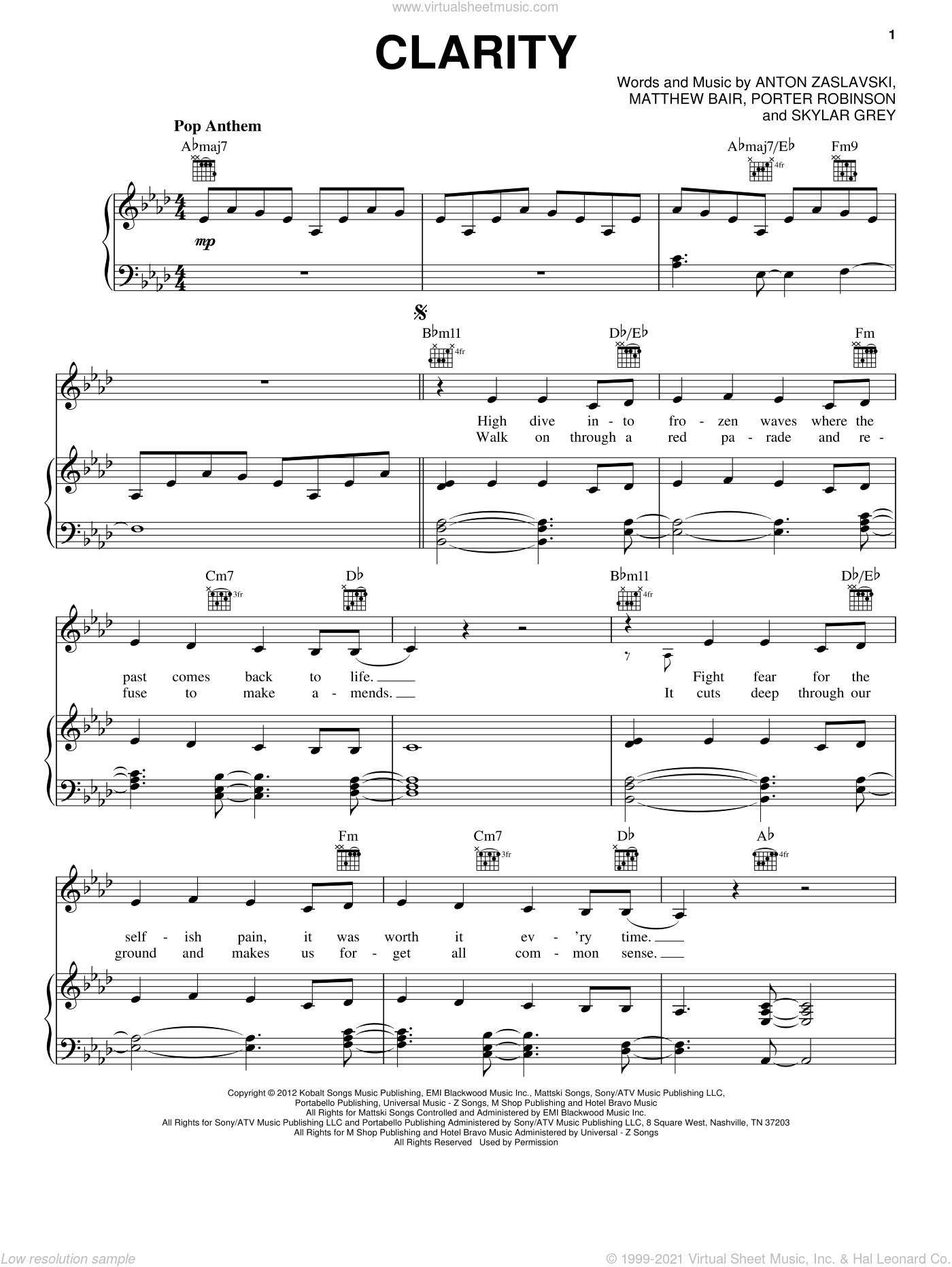 Clarity sheet music for voice, piano or guitar by Zedd, intermediate voice, piano or guitar. Score Image Preview.