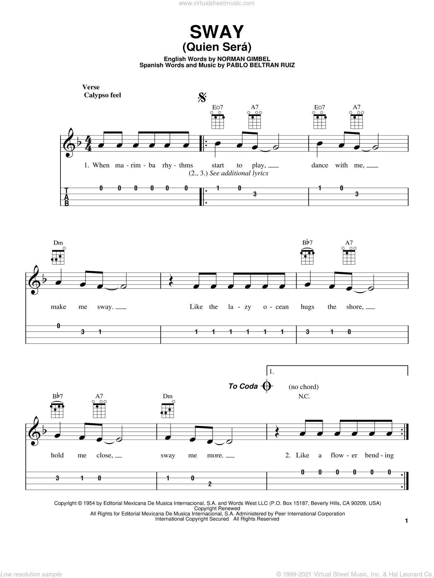 Sway (Quien Sera) sheet music for ukulele by Dean Martin, intermediate skill level
