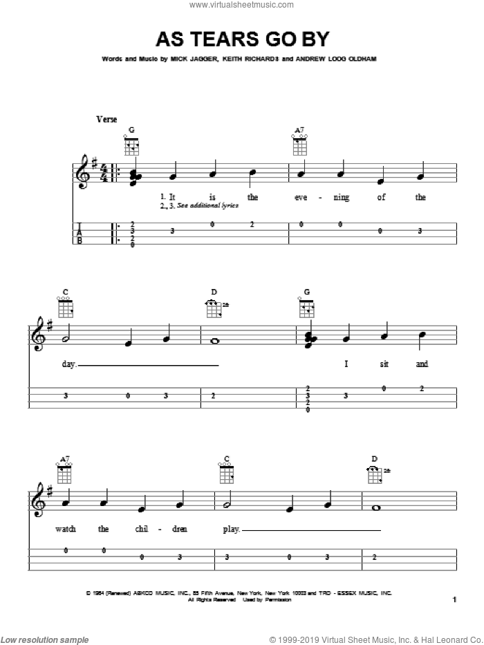 As Tears Go By sheet music for ukulele by Mick Jagger