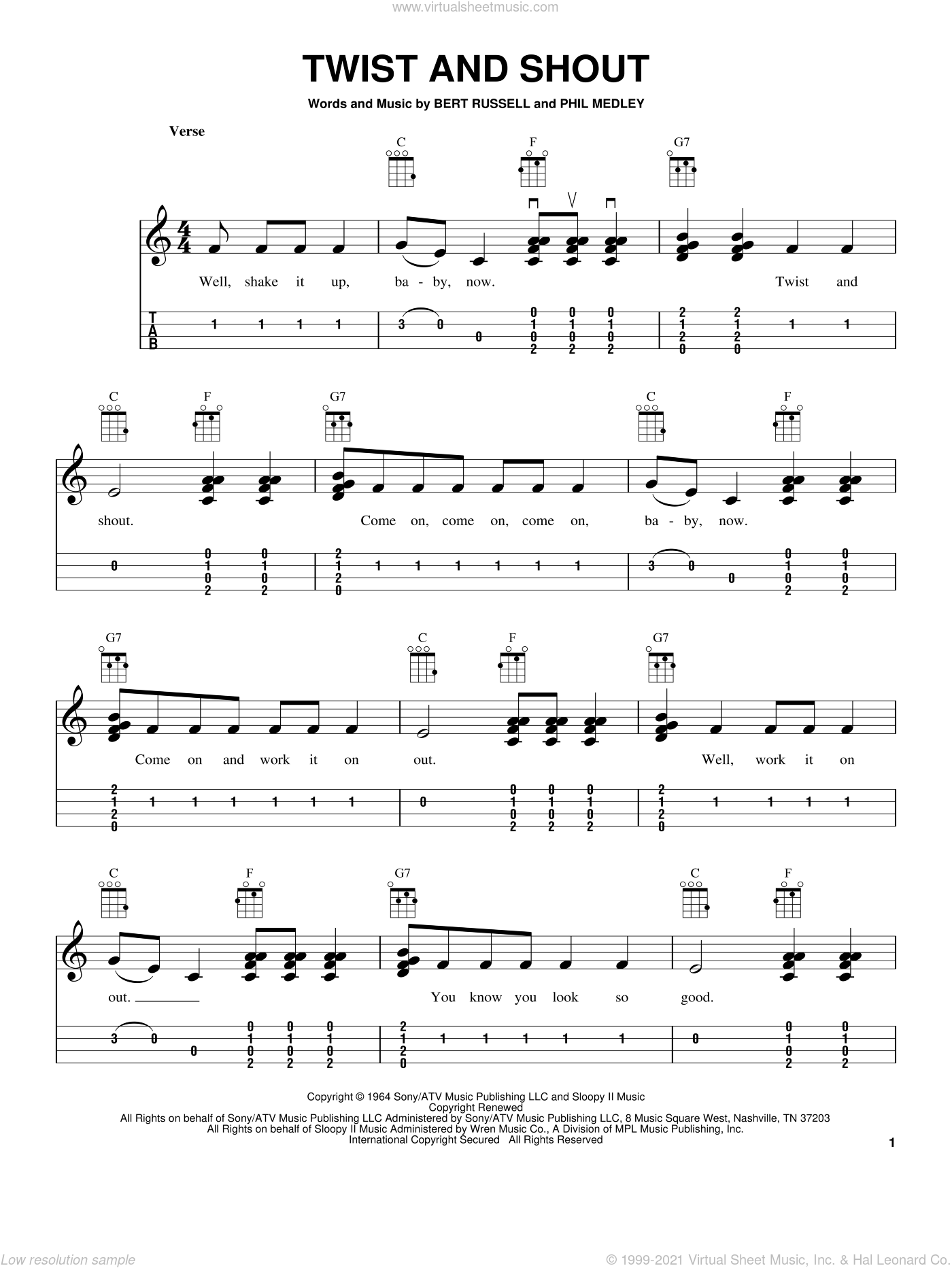 Twist And Shout sheet music for ukulele by The Beatles and The Isley Brothers, intermediate skill level