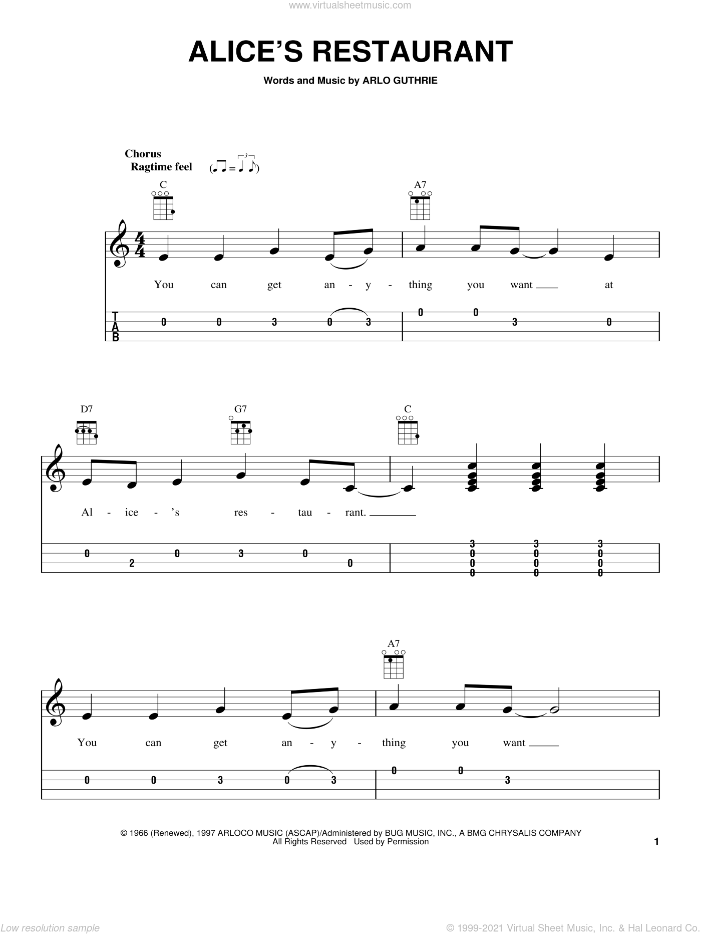 Alice's Restaurant sheet music for ukulele by Arlo Guthrie, intermediate ukulele. Score Image Preview.