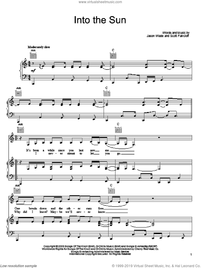 Into The Sun sheet music for voice, piano or guitar by Scott Faircloff, Lifehouse and Jason Wade. Score Image Preview.