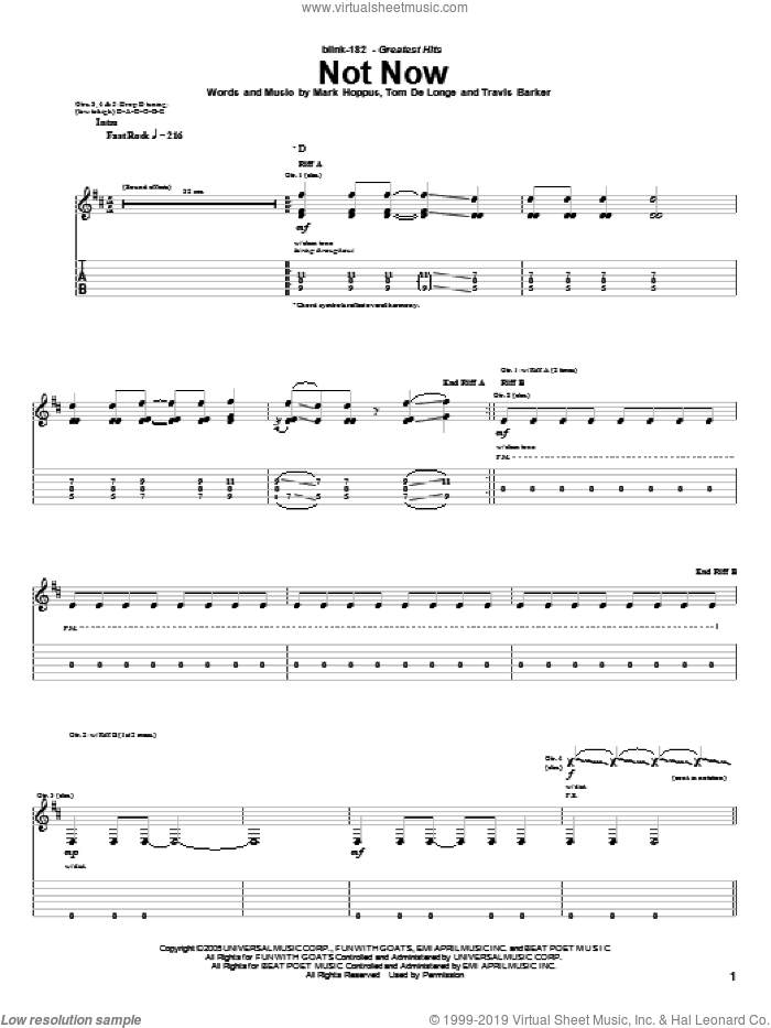 Not Now sheet music for guitar (tablature) by Travis Barker, Blink-182, Mark Hoppus and Tom DeLonge. Score Image Preview.