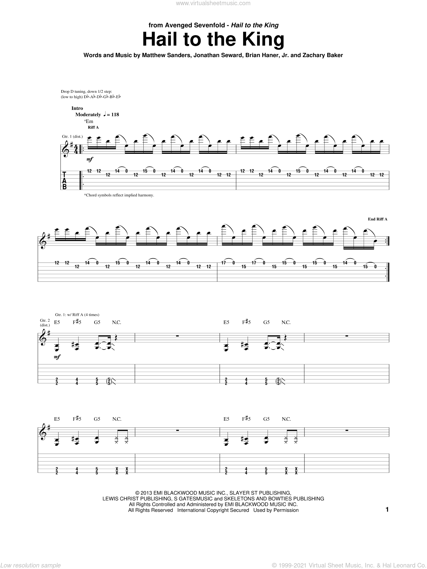 Hail To The King sheet music for guitar (tablature) by Avenged Sevenfold. Score Image Preview.