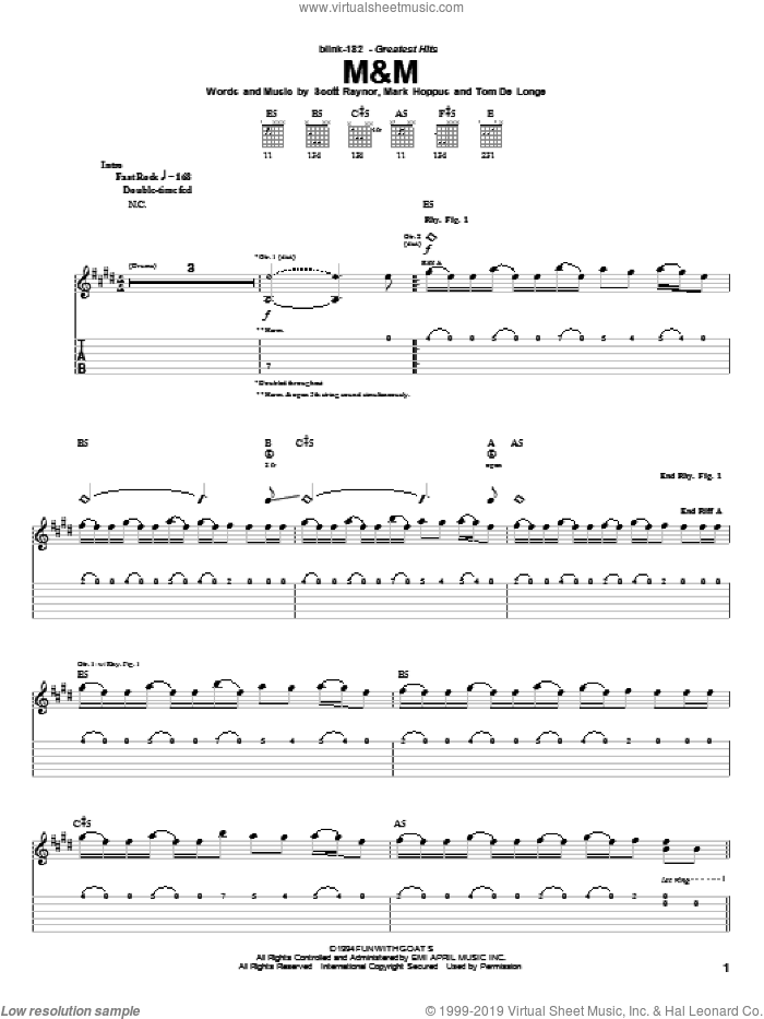 M&M sheet music for guitar (tablature) by Tom DeLonge, Blink-182 and Mark Hoppus. Score Image Preview.