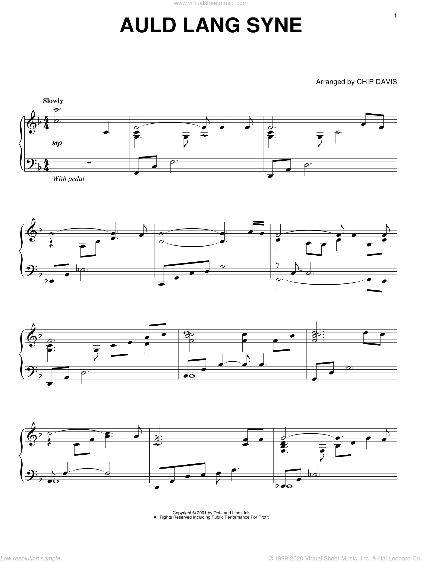 Auld Lang Syne sheet music for piano solo by Mannheim Steamroller and Chip Davis, intermediate skill level