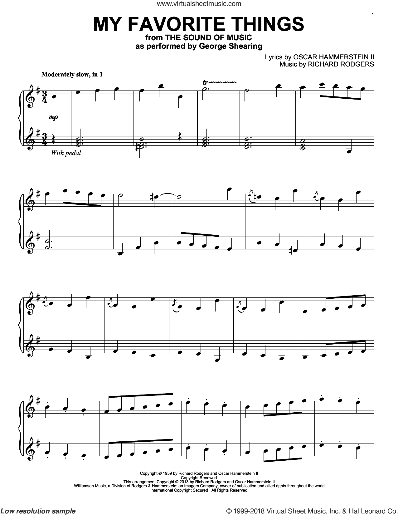My Favorite Things sheet music for piano solo by Rodgers & Hammerstein, Oscar II Hammerstein and Richard Rodgers. Score Image Preview.