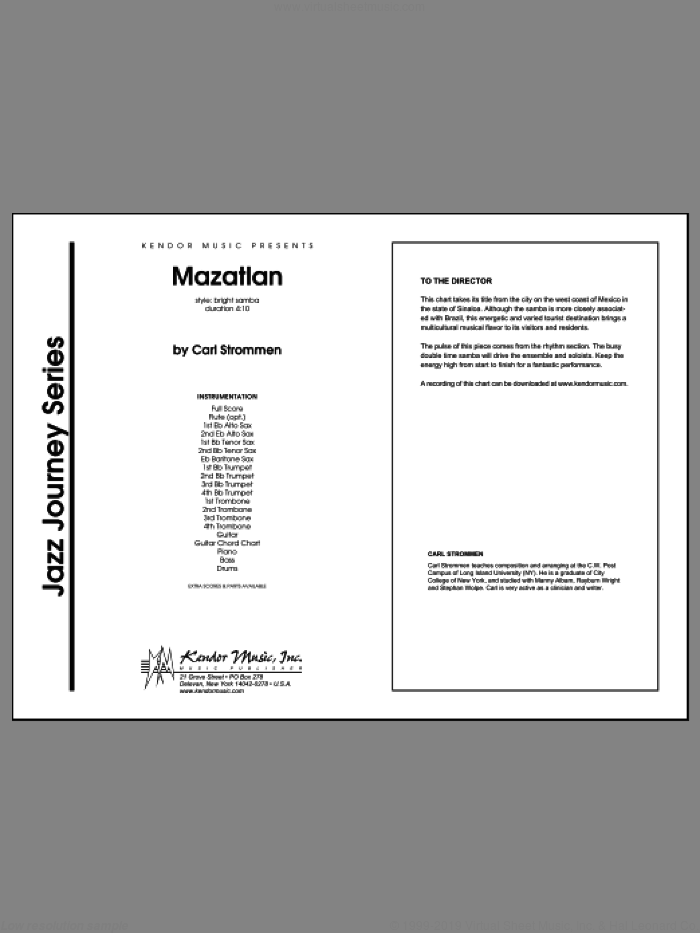 Mazatlan (COMPLETE) sheet music for jazz band by Carl Strommen, classical score, intermediate skill level