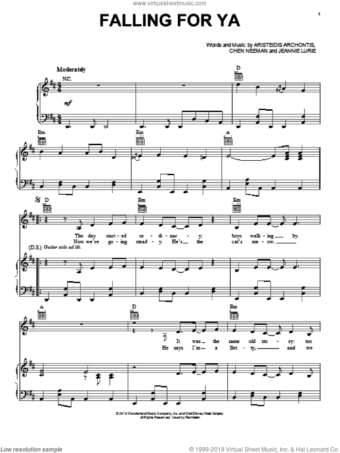 Falling For Ya sheet music for voice, piano or guitar by Grace Phipps. Score Image Preview.