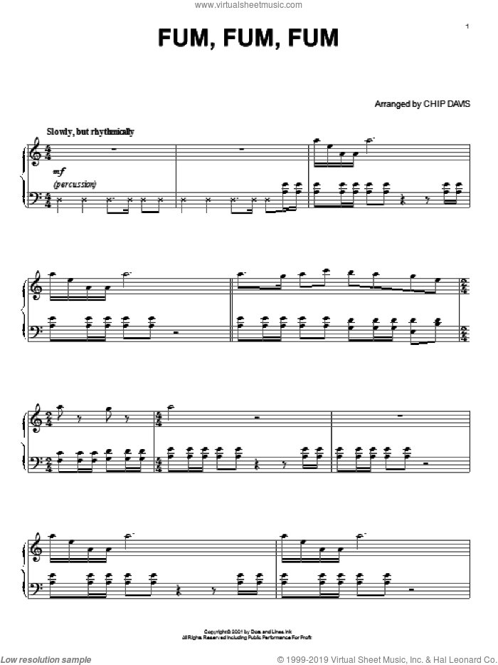 Fum, Fum, Fum sheet music for piano solo by Mannheim Steamroller, Chip Davis, Miscellaneous and Robert Longfield, intermediate skill level