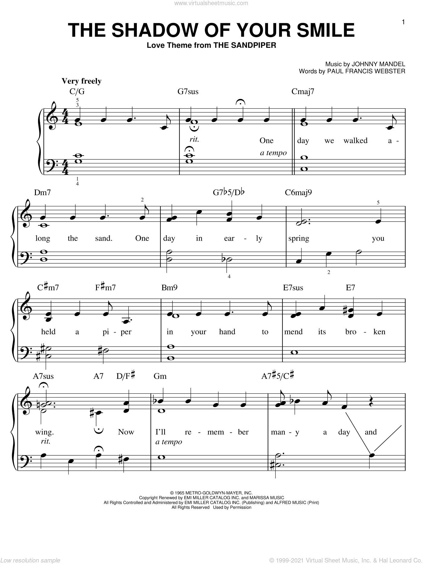 The Shadow Of Your Smile, (easy) sheet music for piano solo by Johnny Mandel and Paul Francis Webster, easy skill level