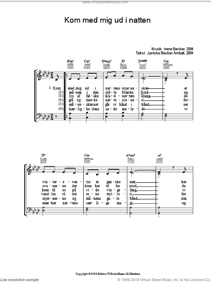Kom Med Mig Ud I Natten sheet music for voice, piano or guitar by Janicke Becker Arnbak