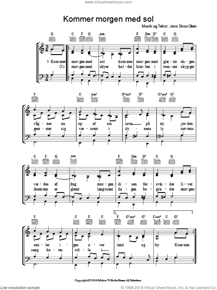 Kommer Morgen Med Sol sheet music for voice, piano or guitar by Jens Skou Olsen. Score Image Preview.