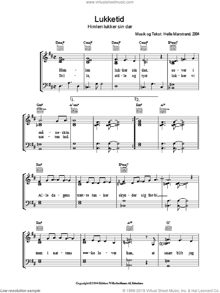 Lukketid sheet music for voice, piano or guitar by Helle Marstrand, intermediate voice, piano or guitar. Score Image Preview.