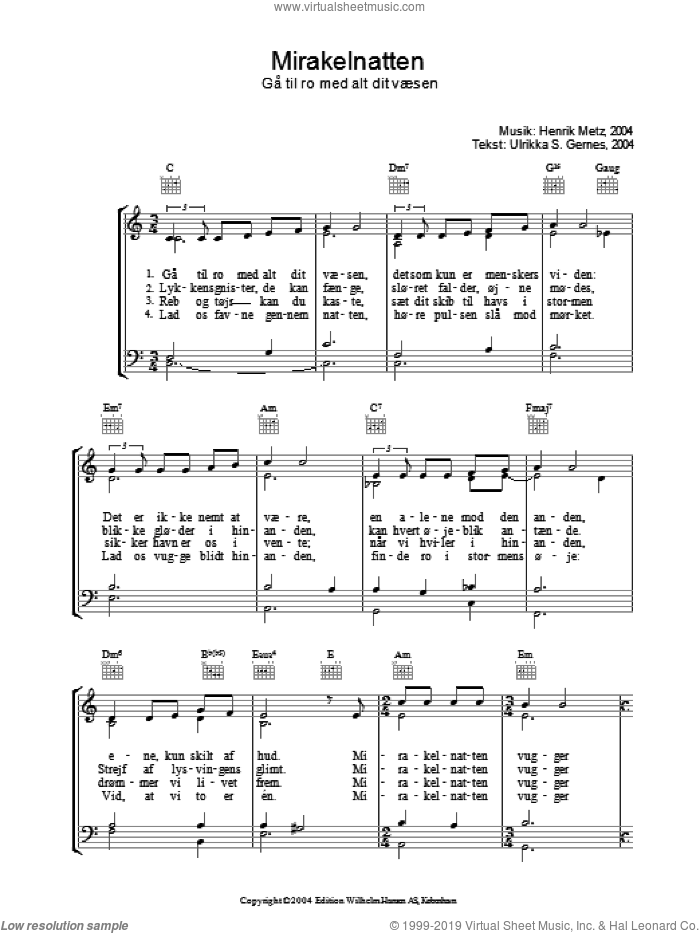 Mirakelnatten sheet music for voice, piano or guitar by Ulrikka S. Gernes