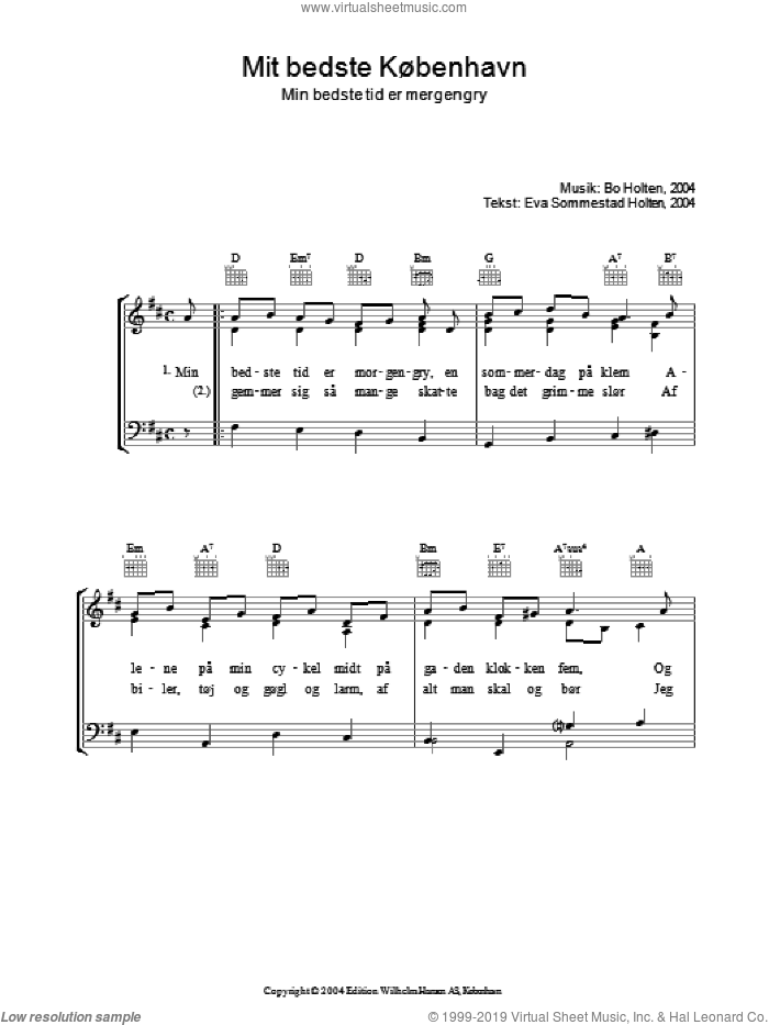 Mit Bedste Kobenhavn sheet music for voice, piano or guitar by Bo Holten and Eva Sommestad Holten, intermediate. Score Image Preview.