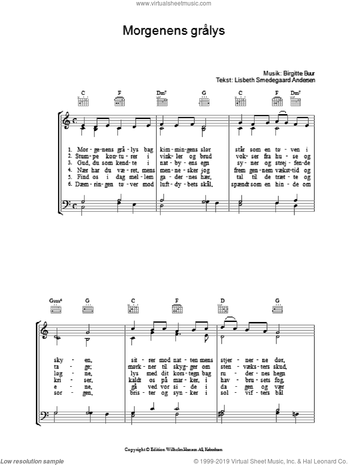 Morgenens Gralys sheet music for voice, piano or guitar by Lisbeth Smedegaard Andersen. Score Image Preview.