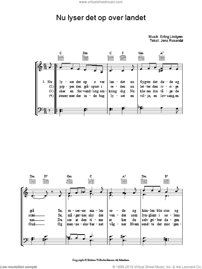 Nu Lyser Det Op Over Landet sheet music for voice, piano or guitar by Erling Lindgren and Jens Rosendal, intermediate. Score Image Preview.