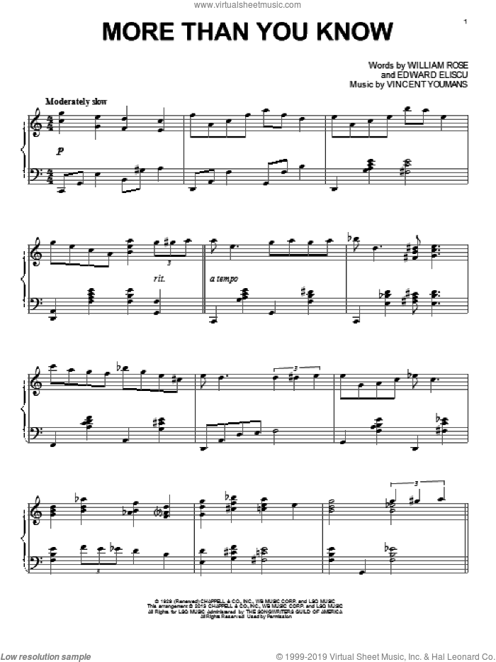 More Than You Know, (intermediate) sheet music for piano solo by Vincent Youmans, Alan Jay Lerner, Edward Eliscu and William Rose, intermediate skill level