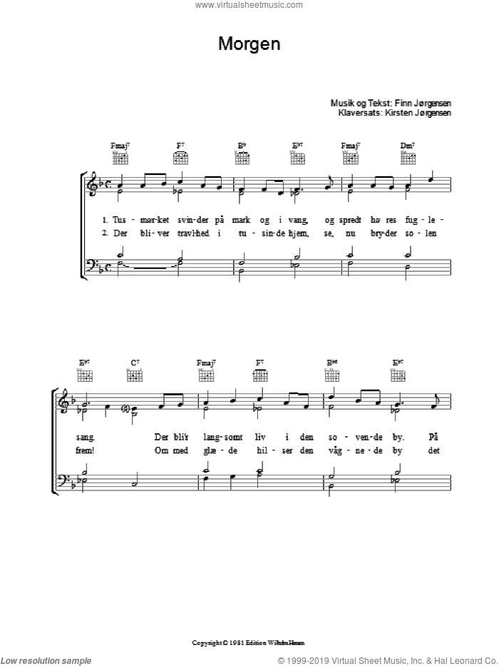 Morgen sheet music for voice, piano or guitar by Finn Jorgensen, intermediate