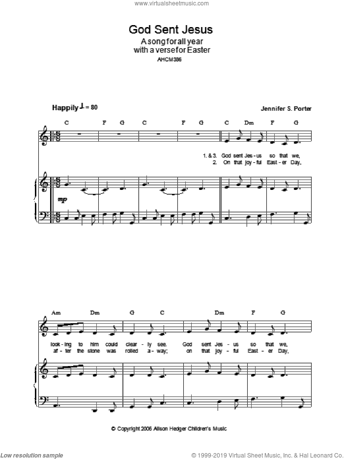 God Sent Jesus sheet music for voice, piano or guitar by Jennifer S. Porter
