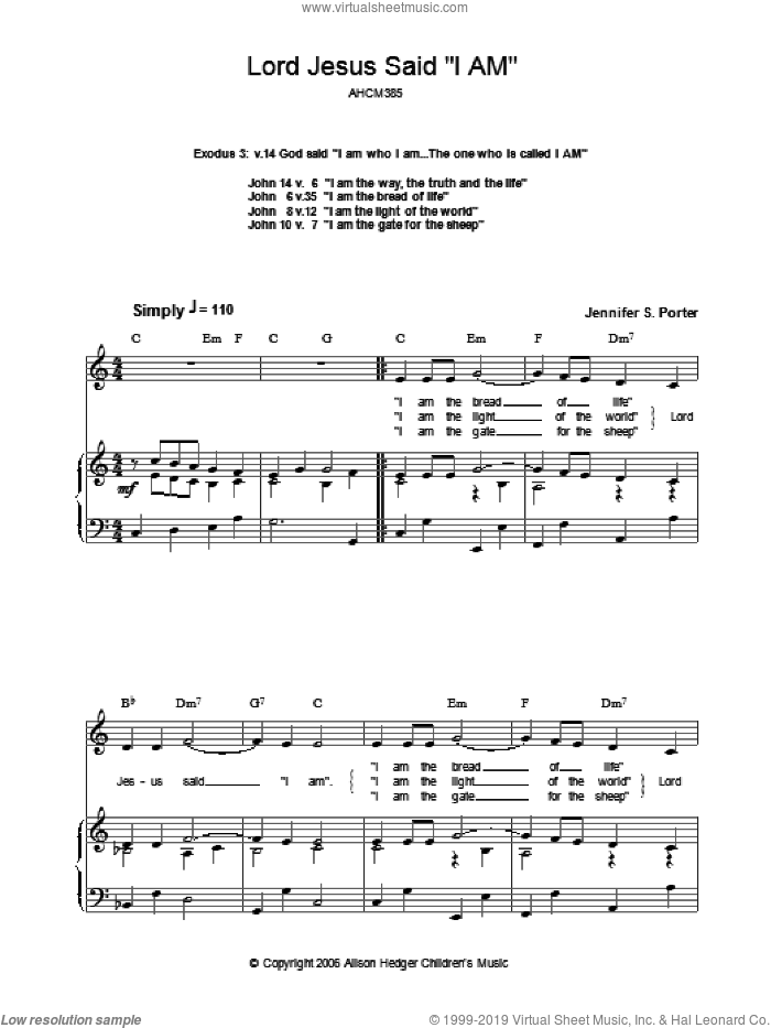 Lord Jesus Said 'I Am' sheet music for voice, piano or guitar by Jennifer S. Porter. Score Image Preview.