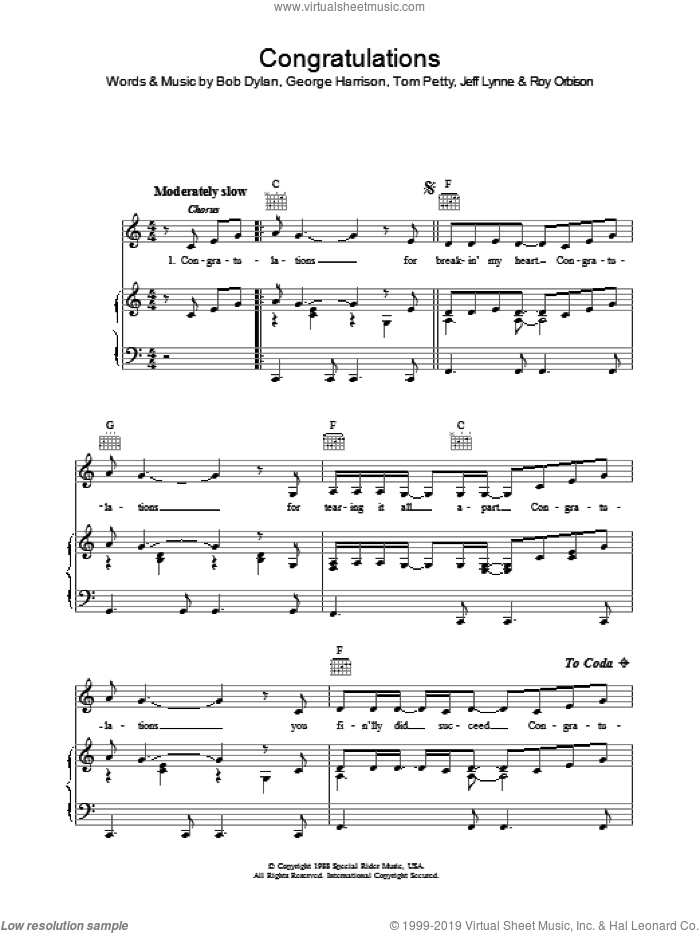 Congratulations sheet music for voice, piano or guitar by Tom Petty