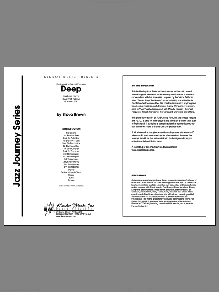Deep (COMPLETE) sheet music for jazz band by Steve Brown, classical score, intermediate skill level