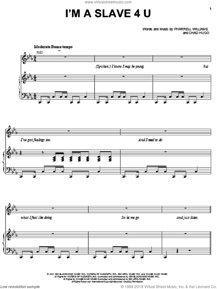 I'm A Slave 4 U sheet music for voice, piano or guitar by Pharrell Williams, Britney Spears and Chad Hugo. Score Image Preview.