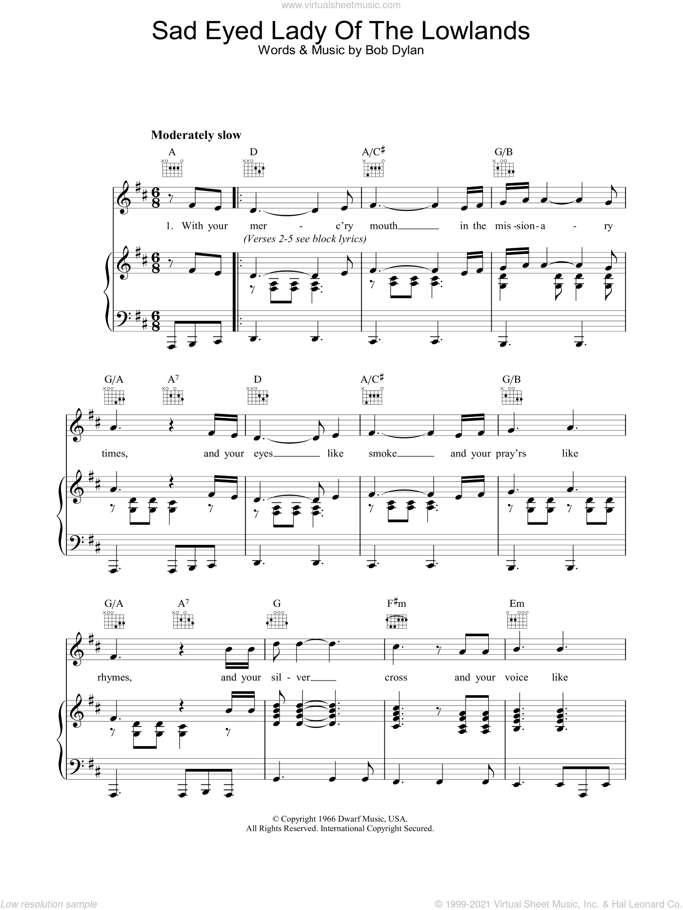 Sad Eyed Lady Of The Lowlands sheet music for voice, piano or guitar by Bob Dylan. Score Image Preview.