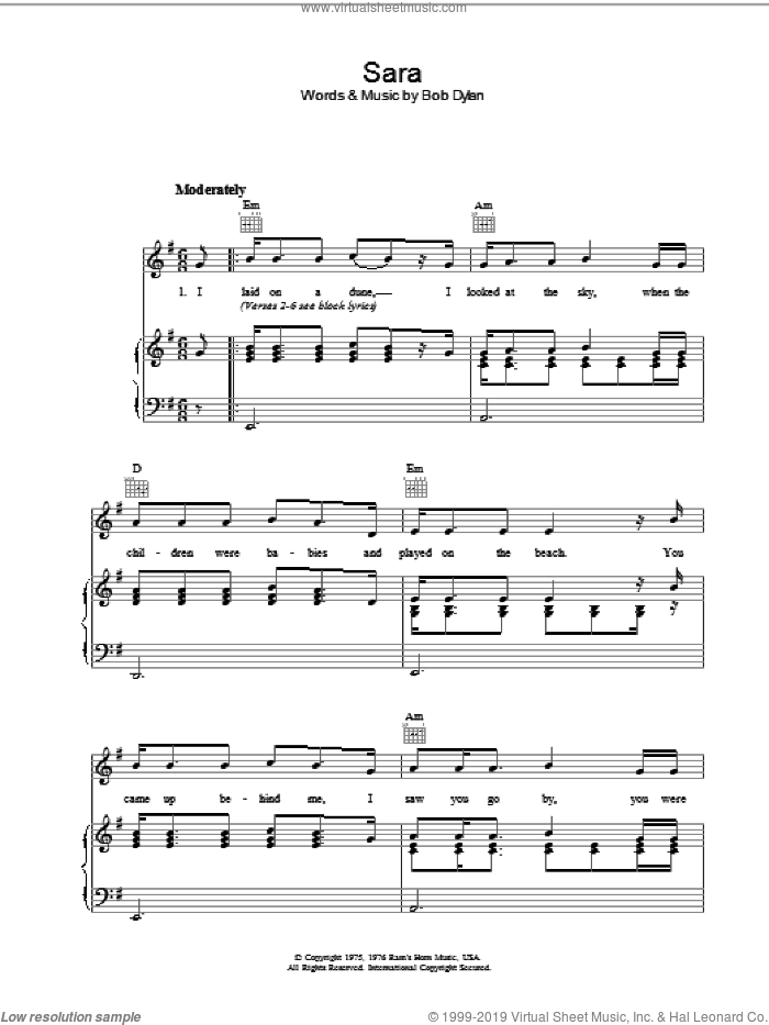 Sara sheet music for voice, piano or guitar by Bob Dylan. Score Image Preview.