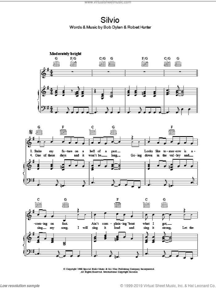 Silvio sheet music for voice, piano or guitar by Bob Dylan, intermediate voice, piano or guitar. Score Image Preview.