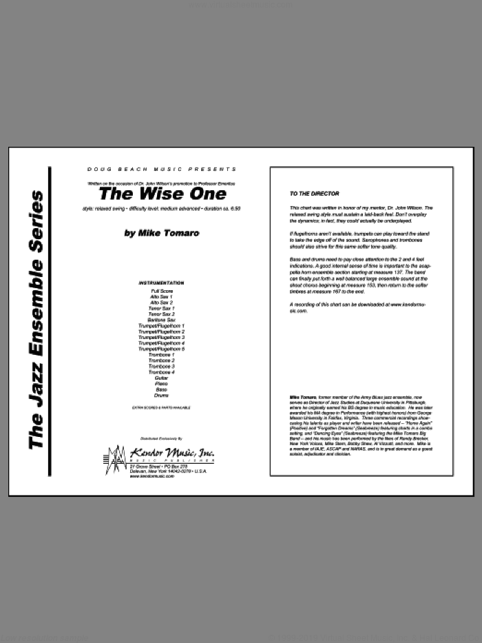 Wise One, The sheet music for jazz band (full score) by Tomaro