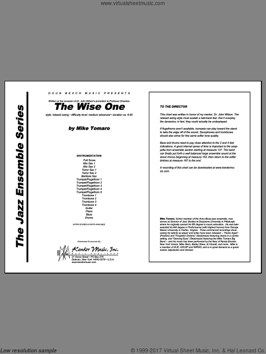 Wise One, The (COMPLETE) sheet music for jazz band by Tomaro