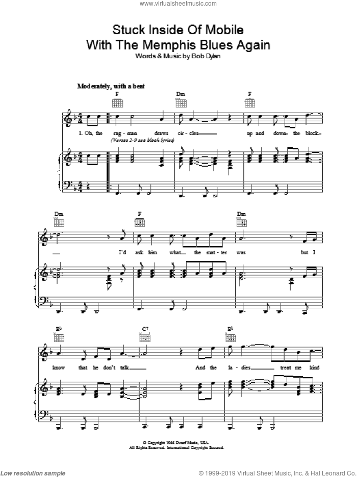 Stuck Inside Of Mobile With The Memphis Blues Again sheet music for voice, piano or guitar by Bob Dylan, intermediate skill level