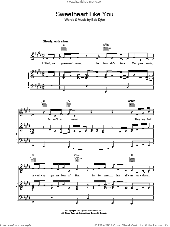 Sweetheart Like You sheet music for voice, piano or guitar by Bob Dylan, intermediate