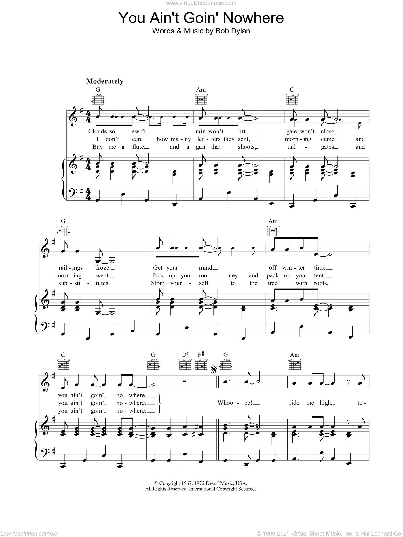 You Ain't Goin' Nowhere sheet music for voice, piano or guitar by Bob Dylan, intermediate. Score Image Preview.