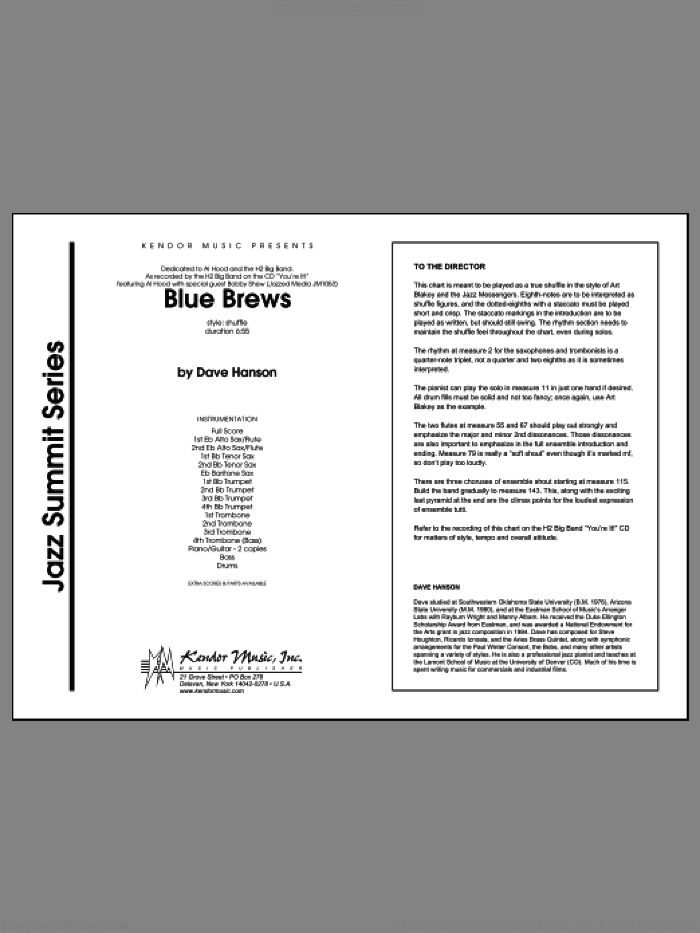Blue Brews (COMPLETE) sheet music for jazz band by isaac Hanson, classical score, intermediate skill level