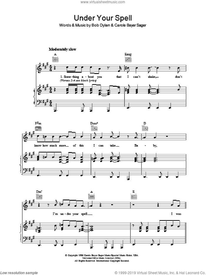 Under Your Spell sheet music for voice, piano or guitar by Carole Bayer Sager and Bob Dylan. Score Image Preview.