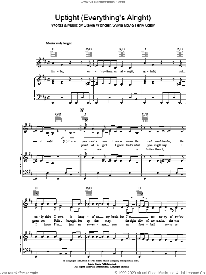 Uptight (Everything's Alright) sheet music for voice, piano or guitar by Stevie Wonder. Score Image Preview.